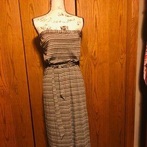 Lovestitch blue/white strapless maxi dress size m